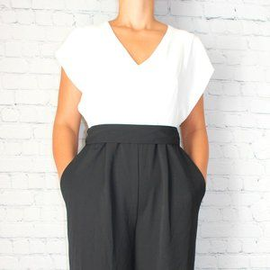 ELIZA J Short Sleeve Two-Tone Jumpsuit